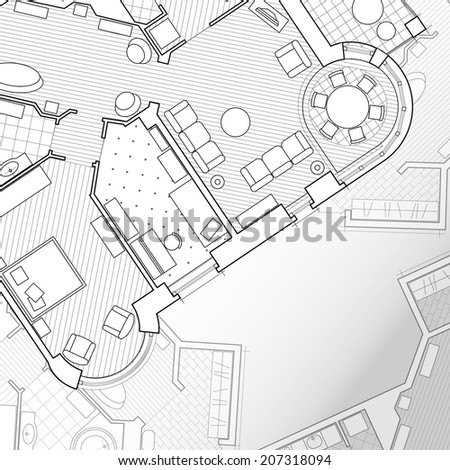 Architectural background.Vector flat projection with furniture. Part of detailed architectural plan, architectural project, technical project, construction plan - stock vector