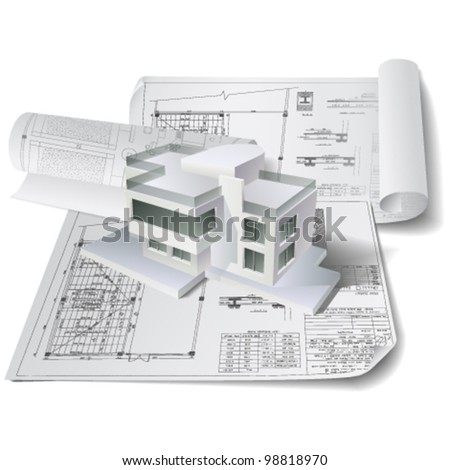 Architectural background (vector). Part of architectural project, architectural plan, technical project, drawing technical letters, architect at work, Architecture planning on paper, construction plan - stock vector
