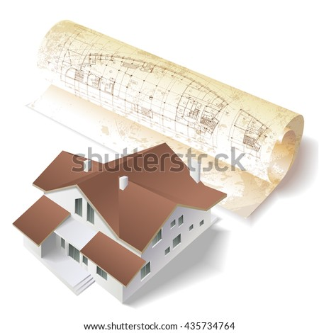 Architectural background with a building model and rolls of drawings. Part of architectural project, architectural plan, technical project, construction plan - stock vector