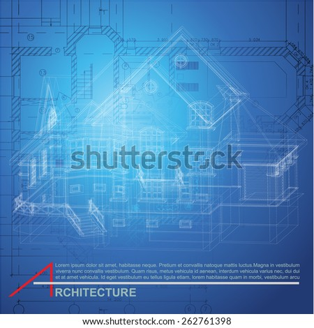 Architectural background with a building model. Vector illustration