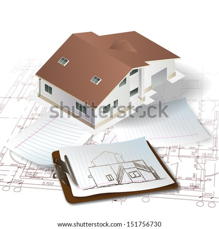 Architectural background with a 3D building model and a notepad. Part of architectural project, architectural plan, technical project, construction plan  - stock vector
