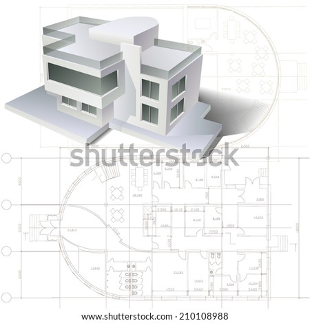 Architectural background with a 3D building model and drawings. Part of architectural project, architectural plan, technical project, construction plan