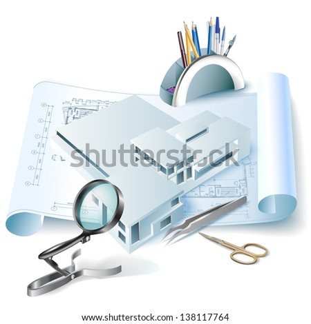 Architectural background with a 3D building model and office tools. Part of architectural project, architectural plan, technical project, construction plan - stock vector