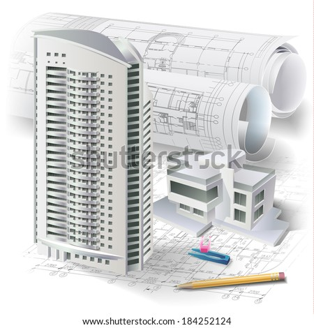 Architectural background with a 3D building model and rolls of drawings. Part of architectural project, architectural plan, technical project, construction plan  - stock vector