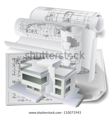 Architectural background with a 3D building model and rolls of drawings. Vector clip-art