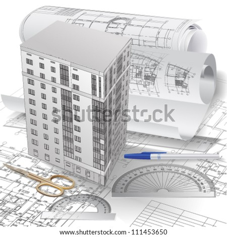 Architectural background with a 3D building model and rolls of technical drawings. Part of architectural project. Vector clip-art