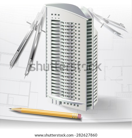 Architectural background with a 3D building model, drawing tools and drawings. Part of architectural project, architectural plan, technical project, construction plan - stock vector