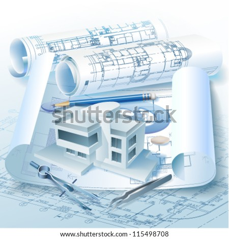 Architectural background with a 3D building model, drawing tools and rolls of drawings. Vector clip-art - stock vector