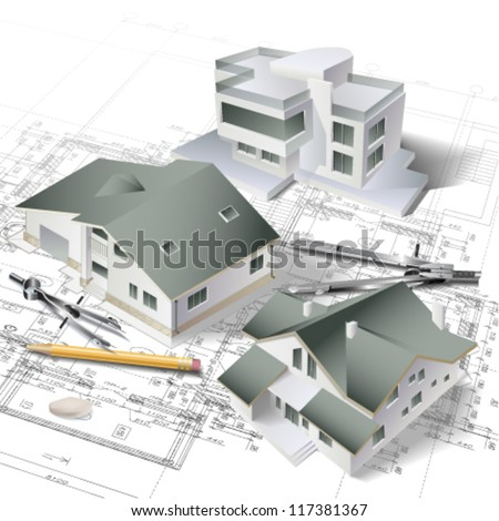 House blueprint 3d stock images royalty free images for 3d plan drawing
