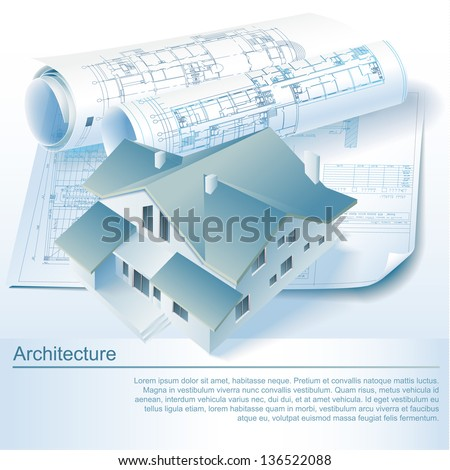 Architectural background with a 3D building model. Part of architectural project, architectural plan, technical project, architecture planning on paper, construction plan - stock vector