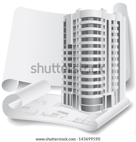 Architectural background with a 3D building model. Part of architectural project, architectural plan, technical project, drawing technical letters, architecture planning on paper, construction plan - stock vector