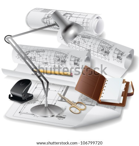 Architectural background with a notebook, lamp and rolls of drawings. Vector clip-art - stock vector