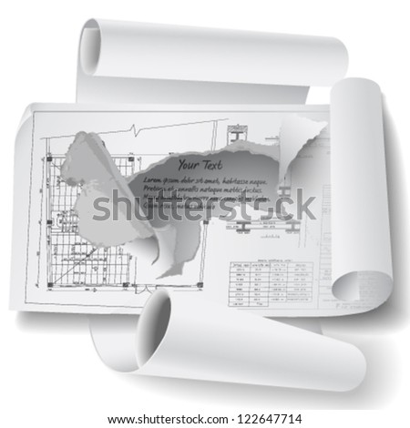 Architectural background with breakthrough paper holes