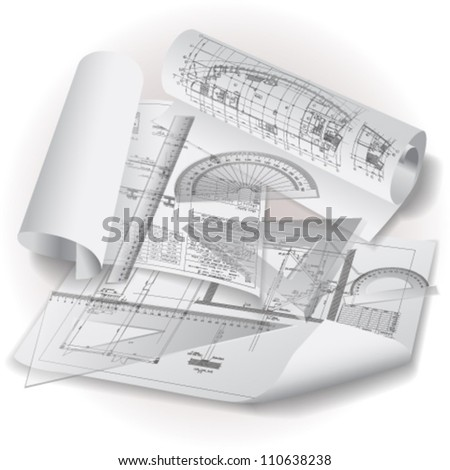 Architectural background with drawing tools and rolls of drawings. Vector clip-art