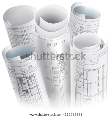 Architectural background rolls drawings vector clipart stock architectural background with rolls of drawings vector clip art malvernweather Choice Image