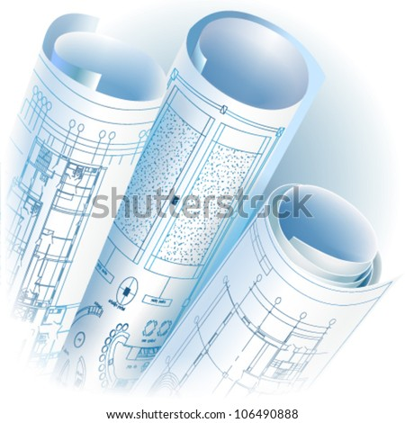 Architectural background with rolls of technical drawings. Vector clip-art - stock vector