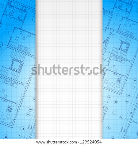 Architectural blue background, ready for your text. Vector illustration, eps10, contains transparencies, gradients and effects. - stock vector
