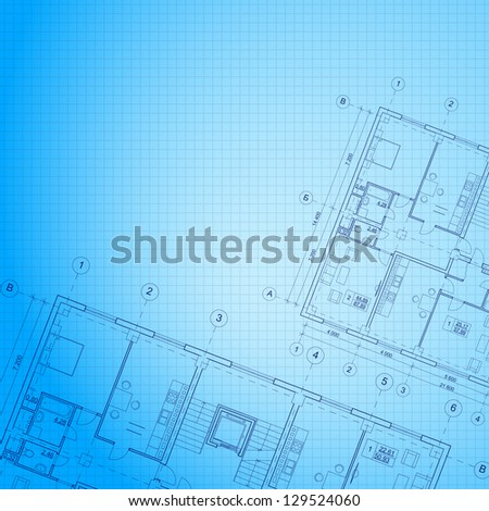 Architectural blue background. Vector illustration, eps10, contains transparencies, gradients and effects. - stock vector