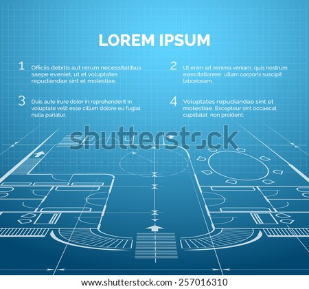 Architectural blueprint background engineer project. Building and apartment and interior. Vector illustration - stock vector