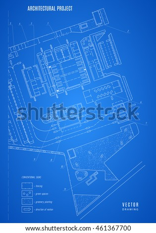 architectural blueprint, technical drawing, construction plan or project on the blue background. stock vector illustration eps10