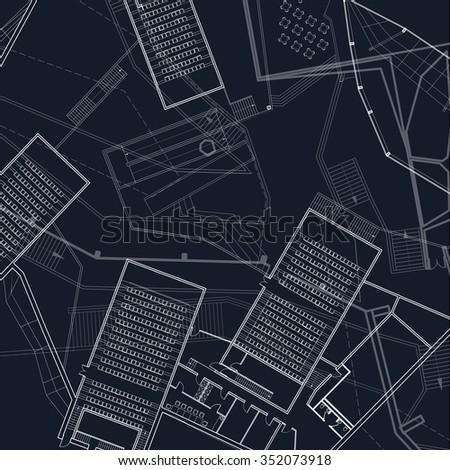 Architectural blueprint vector drawings stock vector 352073909 architectural blueprint vector drawings malvernweather Images