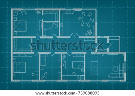 Architectural blueprint vector floor plan house stock vector architectural blueprint vector floor plan of the house on background of millimeter paper professional malvernweather Images