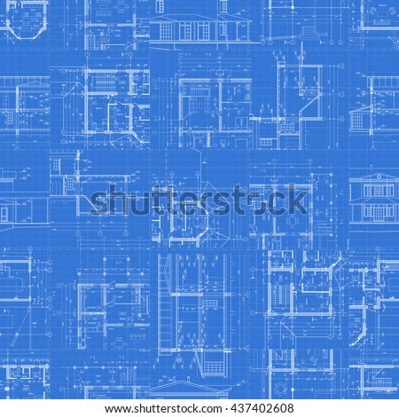 Architectural blueprints, set of technical drawings on blue background, seamless pattern. Vector illustration. - stock vector
