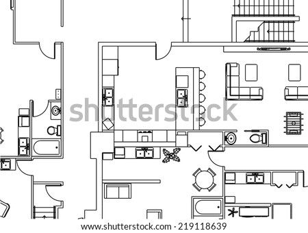 Architectural Building Plan Vector Background Stock Vector HD