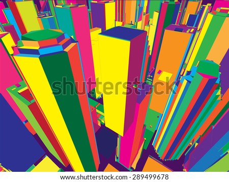 Architectural buildings of New York City Aerial View, colorful - stock vector