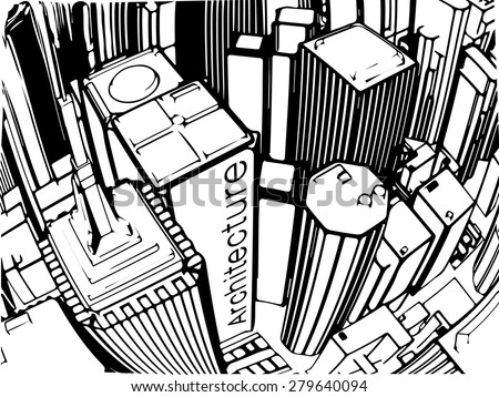 Architectural buildings of New York City Aerial View, grayscale - stock vector