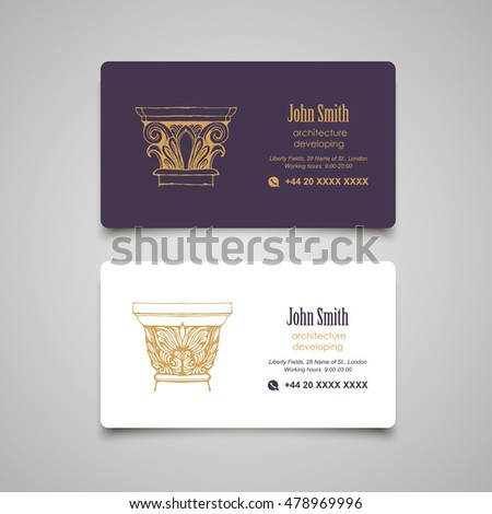Architectural Business Card Templates Set. Vector Classical Columns Elements