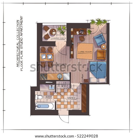 architectural color floor planstudio apartment one stock vector
