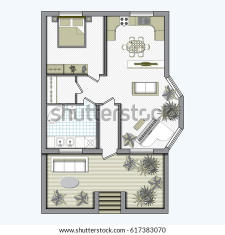 Set top view interior icon design stock vector 602822741 for Studio apartment floor plans furniture layout
