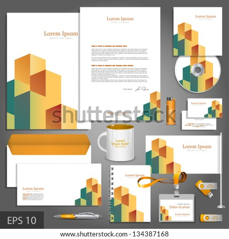 Architectural corporate identity template with cube element. Vector company style for brandbook and guideline. EPS 10 - stock vector