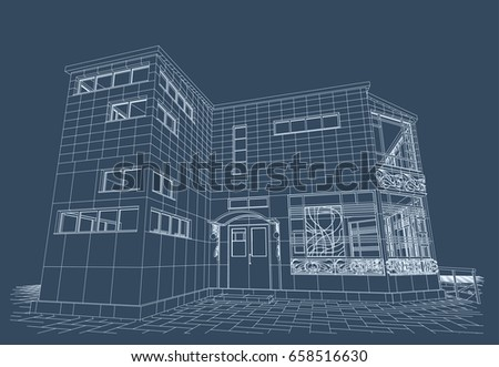 architectural design blueprint. Architectural Design, Blueprint, Public Building, Artistic Forging, Exhibition Hall With Parking. Design Blueprint G