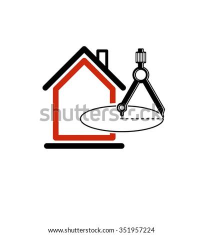 Architectural design conceptual vector symbol, simple house icon with compass. Design construction graphic element, building project or draft, engineer equipment. - stock vector