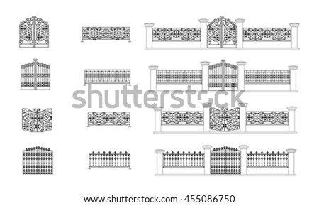 Architectural details vector, Fence vector. Gate vector. Isolated object on white vector. Architectural details vector,Fence vector Gate vector Isolated cad Architectural details vector,Fence vector