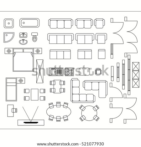 set linear icons interior top view stock vector 699277864 shutterstock. Black Bedroom Furniture Sets. Home Design Ideas