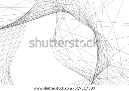 Architectural Drawing Futuristic Background Stock Vector