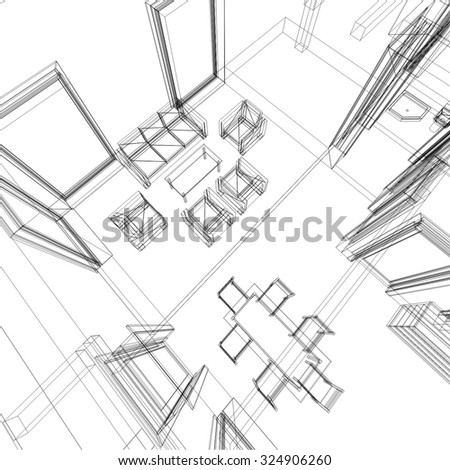 Architectural drawings. House building