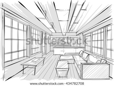Architecture sketch stock vector 225873019 shutterstock for Online architecture drawing