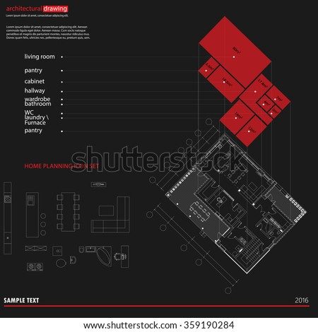 Architectural Drawings Plans Background Diagram Stock Vector