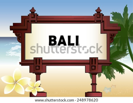 architectural element with an inscription of Bali and the background of palm trees and the sea - stock vector