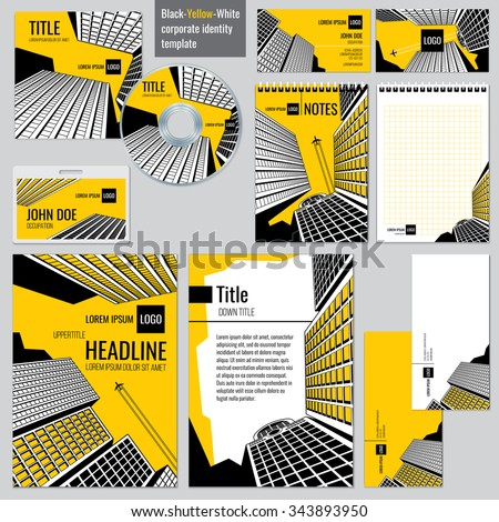 Architectural firm corporate business design. Headline and title, booklet or poster, brochure architecture real estate. Vector illustration templates set - stock vector