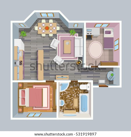 House plans stock images royalty free images vectors for Kitchen plan view