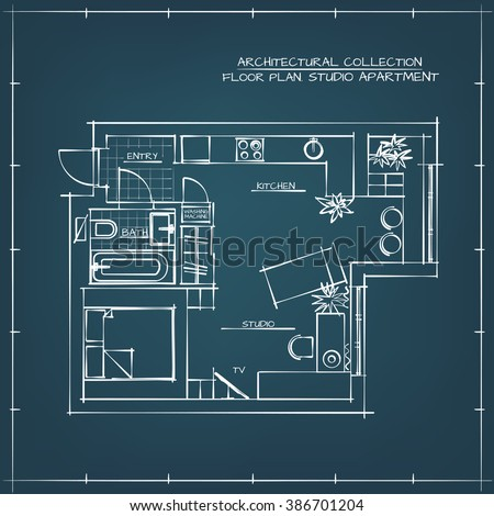 Architectural Hand Drawn Floor Plan. Blueprint. Studio Apartment - stock vector