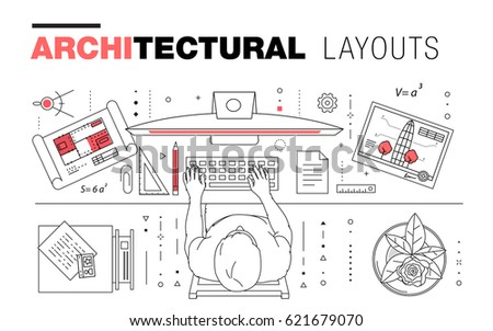 Architectural layouts in trendy polygonal line composition. Thin icons of  buildings. Professional projects drawing