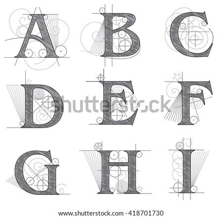 architectural letters for design vector illustration