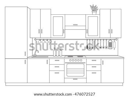 Kitchen Drawing Stock Images Royalty Free Images Vectors Shutterstock