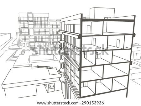 Apartment Building Drawing architectural linear sketch multistory apartment building stock